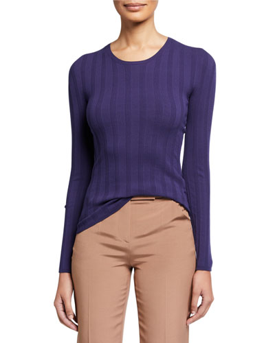Long-Sleeve Ribbed Crewneck Top  Blue
