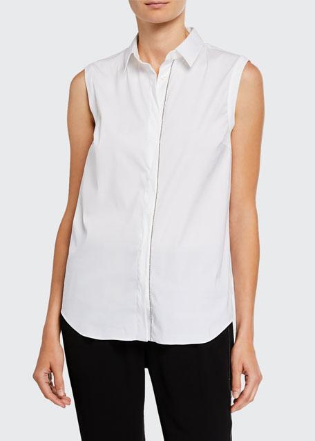 Monili-Beaded Sleeveless Poplin Shirt