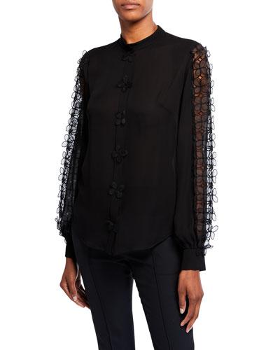 Appliqued-Sleeve Silk Georgette Blouse