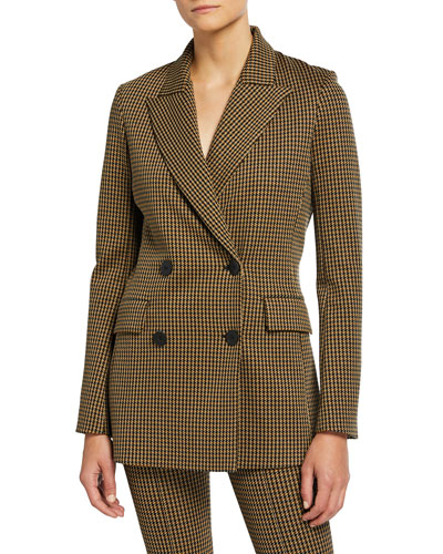 Houndstooth Double-Breasted Jacket with Peak Lapels