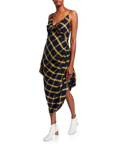 Plaid Ruched Midi Dress