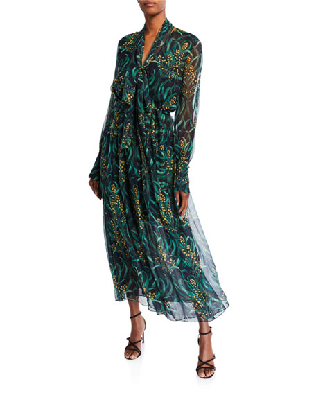 Image 1 of 1: Floral-Print Chiffon Dress