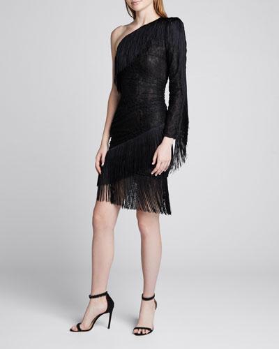 One-Shoulder Fringed Stretch-Lace Dress