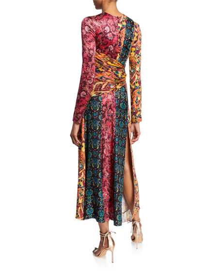 Taxila Floral Mix-Print Cutout Dress