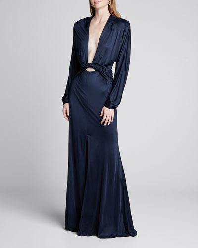 Twisted Fluid-Jersey Long-Sleeve Dress