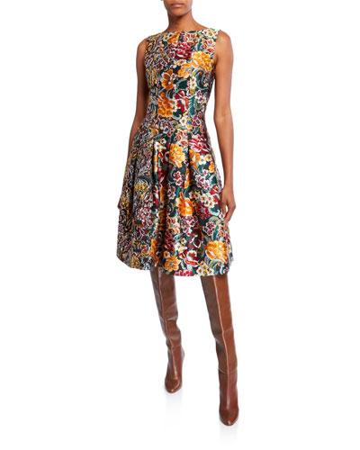 Floral Brocade Sleeveless Day Dress