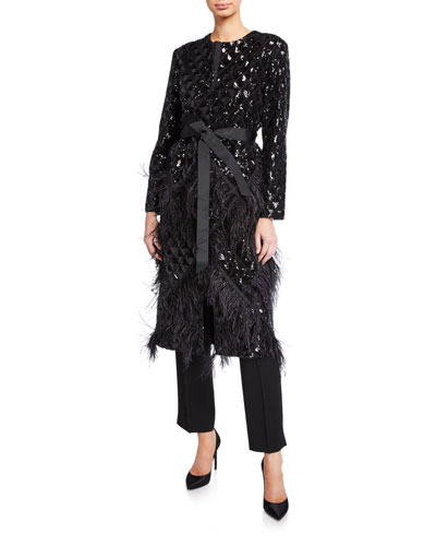 Feather Trim Sequined Quilted Coat