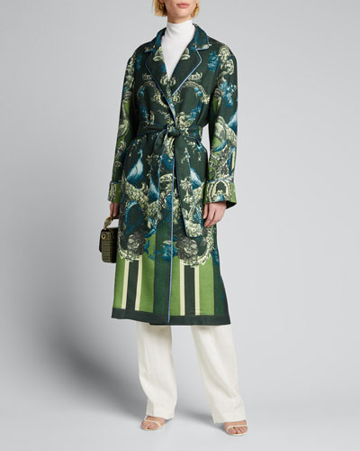 Peacock-Print Silk Robe