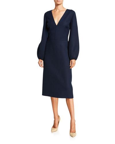 Wool Blouson-Sleeve V-Neck Day Dress