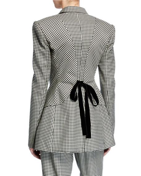 Houndstooth Checked Velvet Tie-Waist Blazer