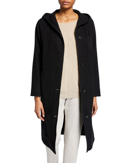 2-in-1 Hooded Button-Front Silk & Cashmere Jacket