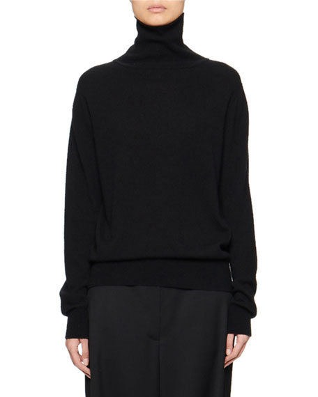 Seiler Wool-Cashmere Turtleneck Sweater, Black