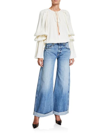Noelle Wide-Leg Roll-Cuff Jeans