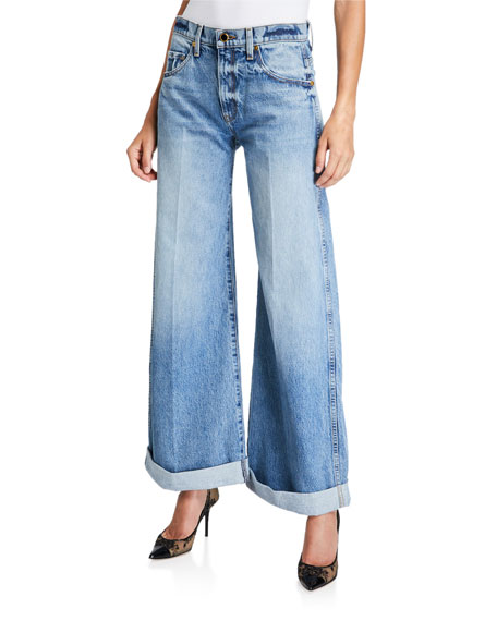 Image 1 of 1: Noelle Wide-Leg Roll-Cuff Jeans