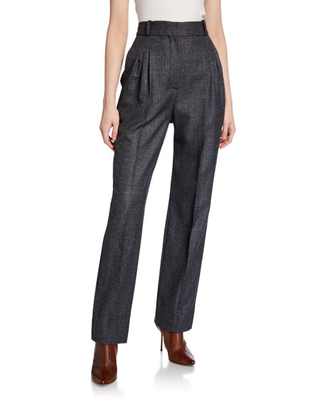 High-Rise Chambray Trousers