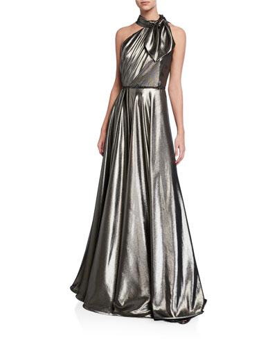 Lame Asymmetric Tie-Neck Gown