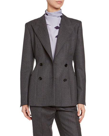 Pinstriped Wool Blazer