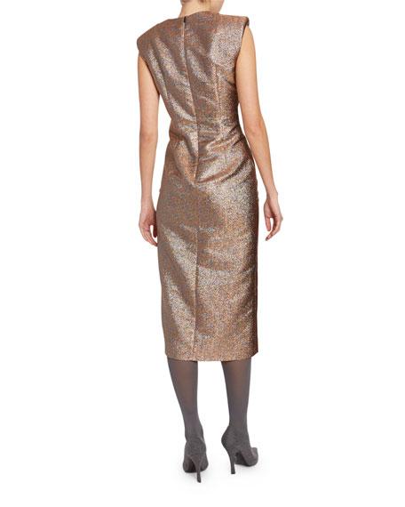 Metallic Ruched-Side Dress