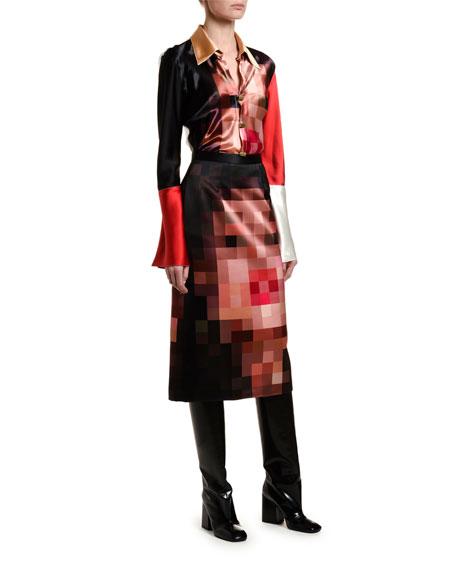 Pixelated Face-Print Skirt