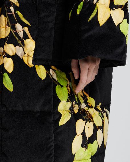 Leaf Print Quilted Velvet Coat