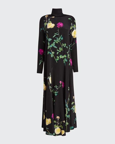 Floral High-Neck Silk Dress
