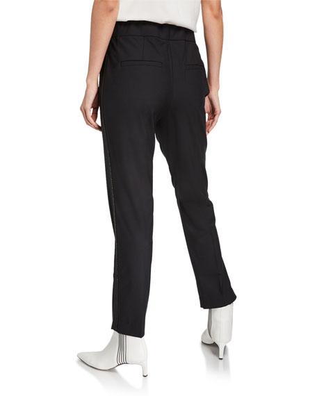 Monili-Beaded Tropical Wool Trousers