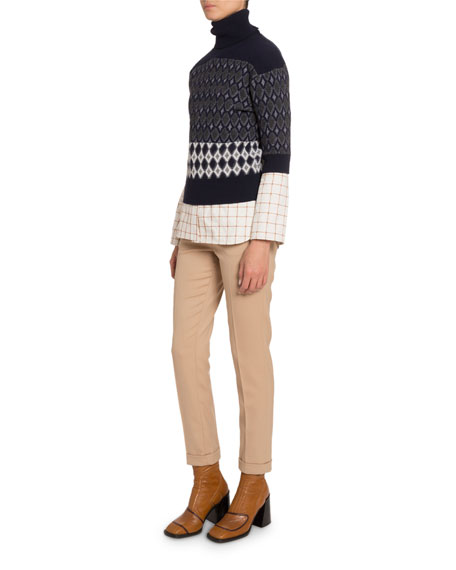 Colorblocked Wool Short-Sleeve Turtleneck Sweater