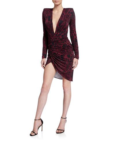 Animal-Print Deep-V Dress