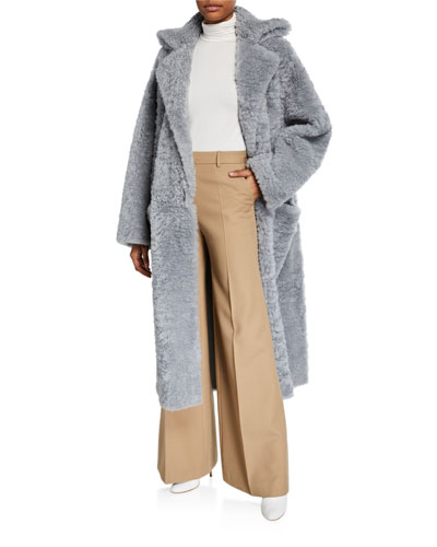 Iceland Shearling Open-Front Coat
