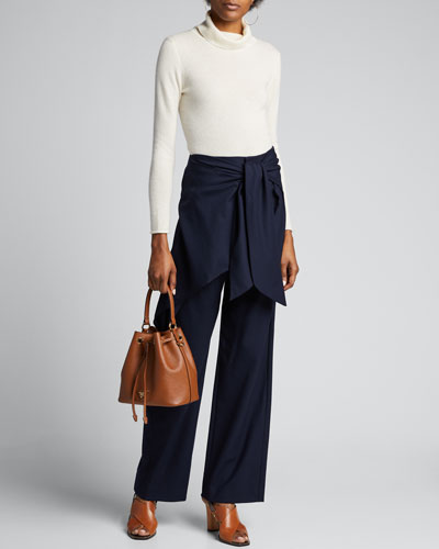 Wool Wrap-Front Flare Pants