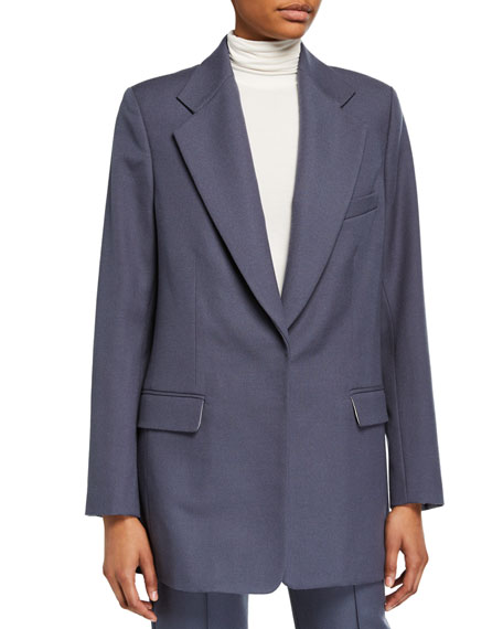 Wool-Blend Oversized Boxy Suit Jacket
