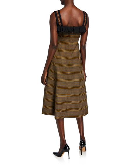 Plaid Asymmetric Ruffled Dress
