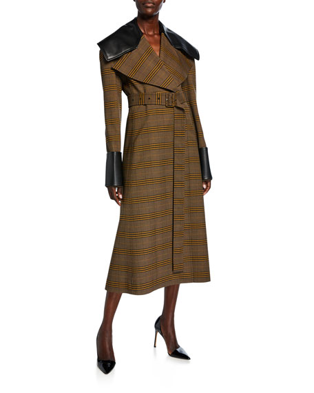 Check Faux-Leather Check Trim Belted Coat