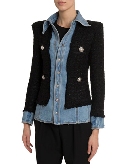 Layered Denim Tweed Blazer