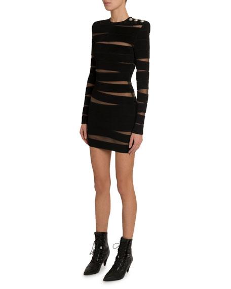 Long-Sleeve Paneled Sheer-Mesh Dress