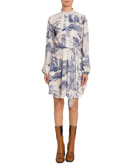 Long-Sleeve Toile-Print Chiffon Dress