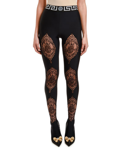 Lace-Inset Tights