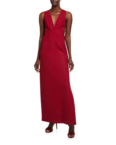 Stretch Wool V-Neck High-Slit Gown