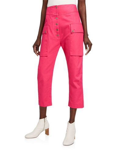 Cotton Cropped Cargo Pants