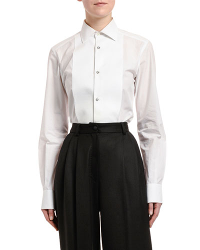 Long-Sleeve Cotton Poplin Jewel-Button Blouse