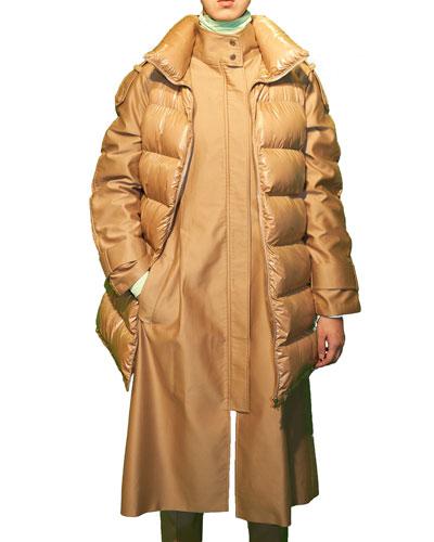 Puffer-Trim Trench Coat
