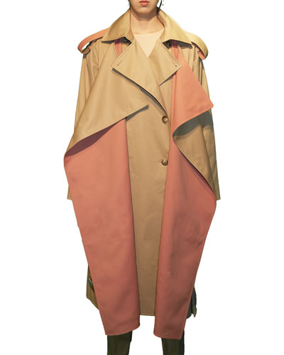 Two-Tone Layered Trench Coat