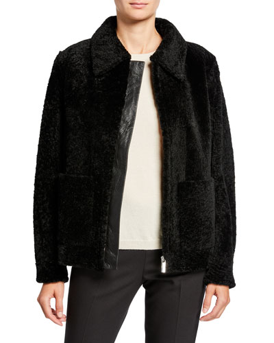 Leather-Trim Shearling Zip-Front Jacket