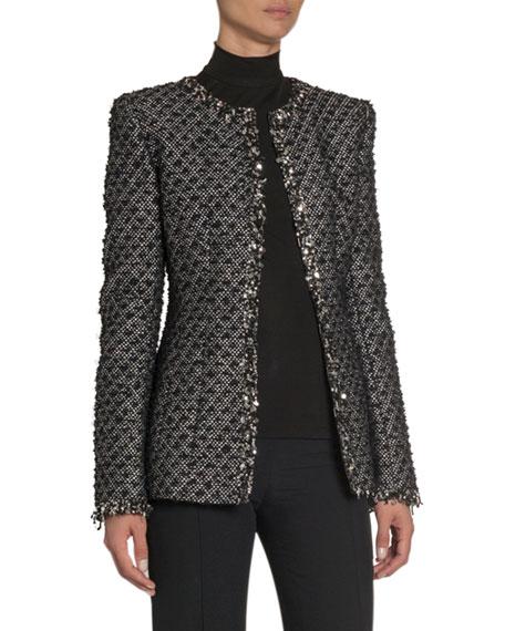 Embroidered Tweed Slim-Fit Jacket