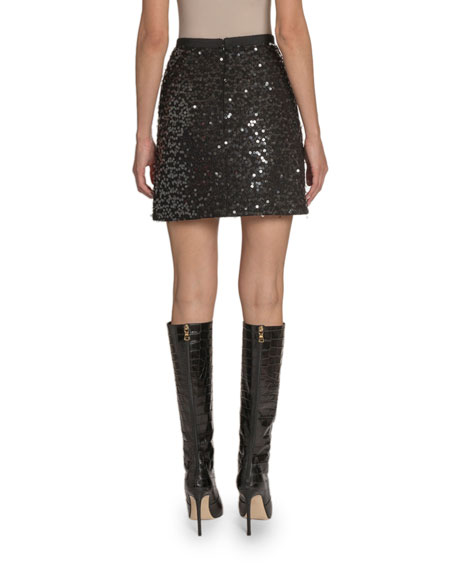 Sequined A-Line Skirt
