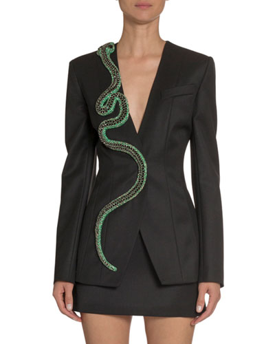 V-Neck Wool Jacket w/ Snake Embroidery