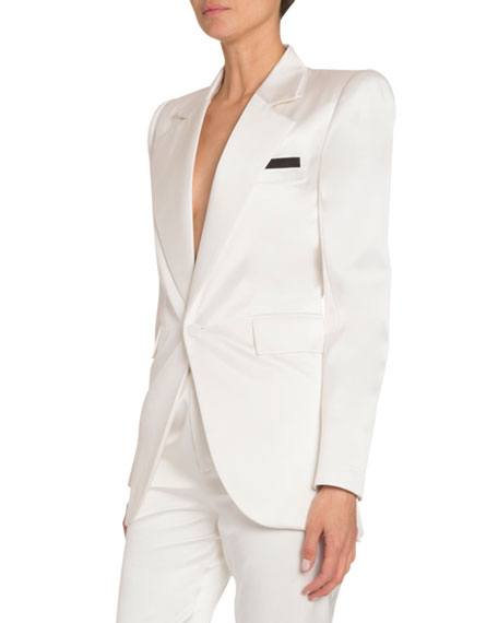 Silk Satin Wide-Lapel Tuxedo Jacket