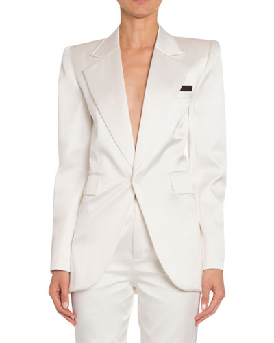 Silk Satin Wide-Lapel Tuxedo Jacket