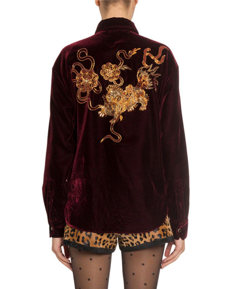 Dragon-Embroidered Velvet Snap-Front Shirt
