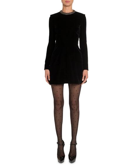 Velvet Crystal-Collar Dress